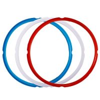 Silicone Sealing Ring for Instant Pot Accessories, Fits 5 or 6 Quart Models, Red, Blue and Common Transparent White, Sweet and Savory Edition, Pack of 3
