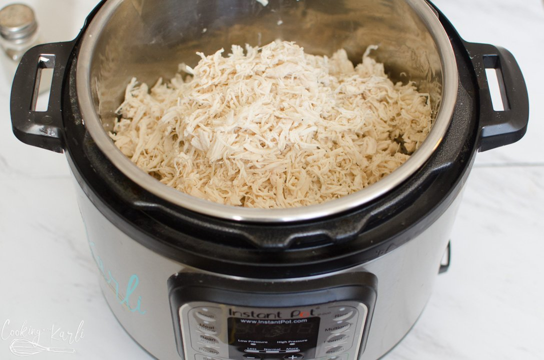 chicken tenders in the Instant Pot, shredded