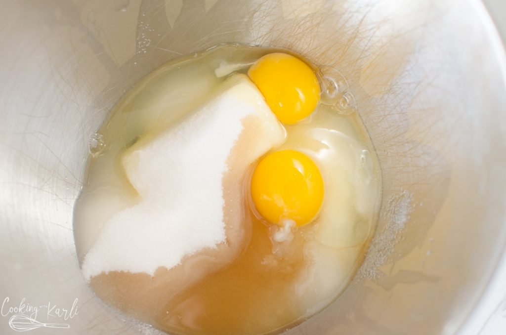 butter, sugar, eggs and vanilla