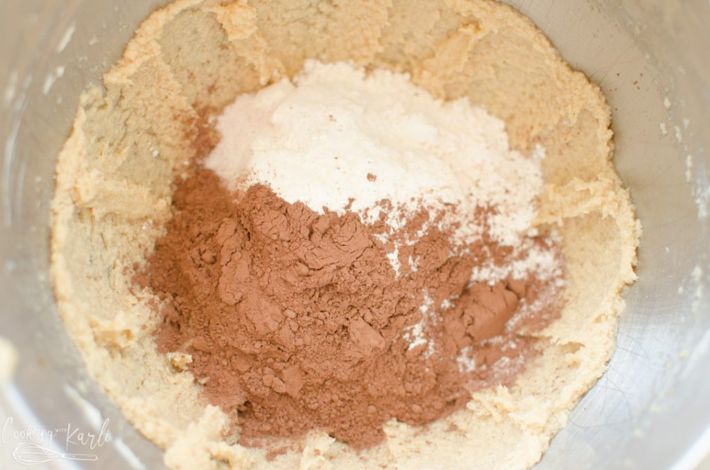 butter, sugar, brown sugar, milk, vanilla, flour, salt and cocoa for the brownie batter fudge