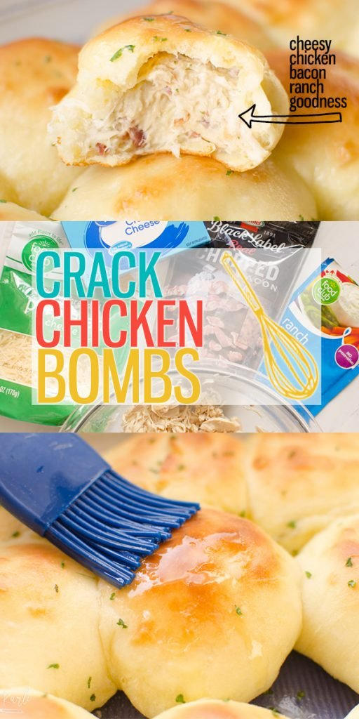 Crack Chicken Bombs are shredded chicken, cream cheese, dry ranch mix and bacon all mixed together and baked inside of a bread bomb! These are a delicious appetizer, snack or meal! |Cooking with Karli| #crackchicken #chickenbomb #breadbomb #chicken #bacon #ranch #appetizer #recipe #rotisseriechicken
