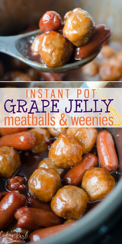 Grape Jelly Meatballs and Weenies are a fun, easy and delicious appetizer. Can be either made in the crockpot or quickly in the Instant Pot! Made from 4 simple ingredients, this appetizer is a real winner! |Cooking with Karli| #appetizer #grapejelly #bbqsauce #meatballs #lilsmokies #cocktailweenies #christmas #party #recipe