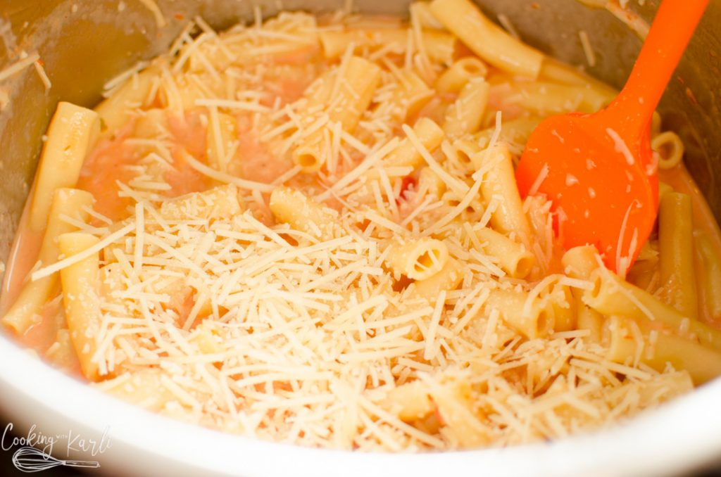 cheese added to the Instant Pot for skinny creamy ziti