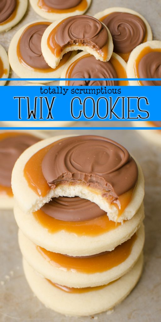 Twix Cookies are a soft sugar cookie crust, with a creamy caramel on top which is topped with milk chocolate. This delicious cookie explodes with Twix flavor and are super fun to make! Skip the candy bar and make your own!|Cooking with Karli| #twix #cookie #cookiecup #candybar #candybarcookie #copycat #caramel #recipe