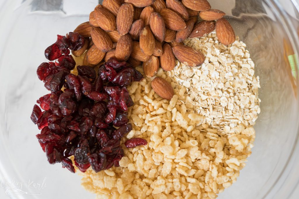 almonds, dried cranberries, oats and Rice Krispies cereal