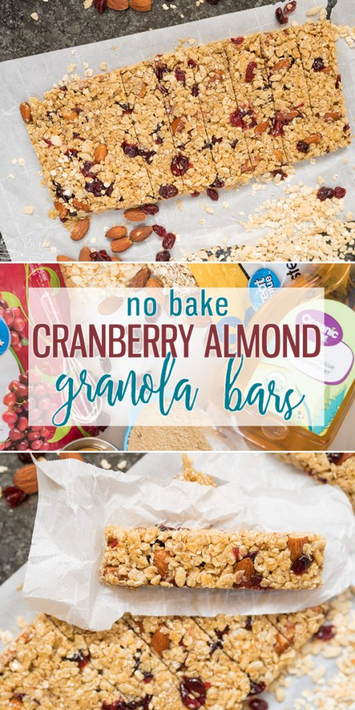 Cranberry Almond Granola Bars are a healthy snack made with minimal ingredients yet are bursting with flavor! Made from agave syrup, brown sugar, oats, Rice Krispies, almonds and dried cranberries these granola bars are not only healthy, but delicious! |Cooking with Karli| #snack #granolabar #nobake #healthy #kind #copycat #healthysnack #cranberryalmond