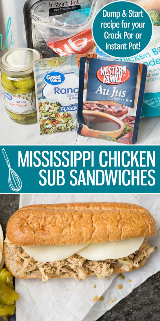 Mississippi Chicken Sandwiches are an easy and flavorful main dish for your family to love! Either made in the Crock Pot or Instant Pot, the tender chicken drenched in the au jus, ranch and pepperoncini flavored sauce is the perfect topping to your favorite sandwich bun. |Cooking with Karli| #instantpot #mississippi #chicken #instantpotrecipe #dumpandstart #recipe #sandwich #chickensandwich