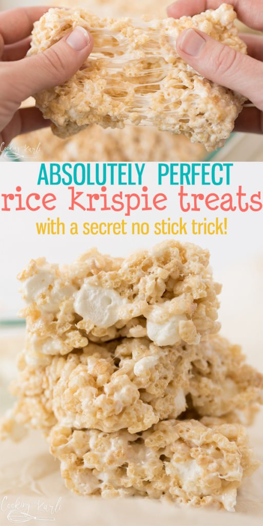 This truly is The BEST Rice Krispie Treat Recipe out there! All done easily and quickly in the microwave, plus a secret to making pressing the treats into the pan easy, with NO STICKING to your hands! You are 5 minutes away from the best Rice Krispie Treats of your LIFE! |Cooking with Karli| #ricekrispies #ricekrispietreats #marshmallows #nostick #microwave #recipe #nobake #dessert #easy