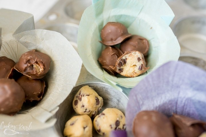 cookie dough bites, finished and covered in chocolate