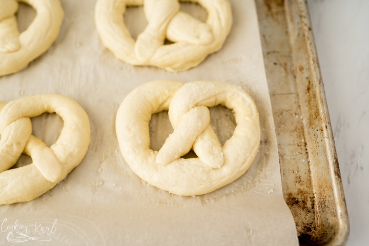 soft pretzels before baking