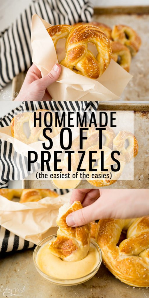 Homemade Soft Pretzels are both delicious and EASY! The classic tangy, chewy crust with the fluffy inside is exactly what this recipe will provide. This Soft Pretzel Recipe is fast, too! It takes less than 1 hour from start to finish. |Cooking with Karli| #pretzels #softpretzels #homemade #easy #fast #1hour #cheesesauce #recipe