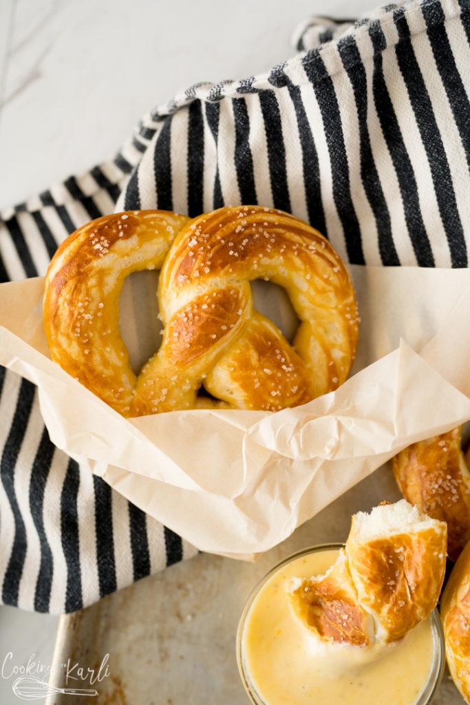 homemade soft pretzels, finished and served.
