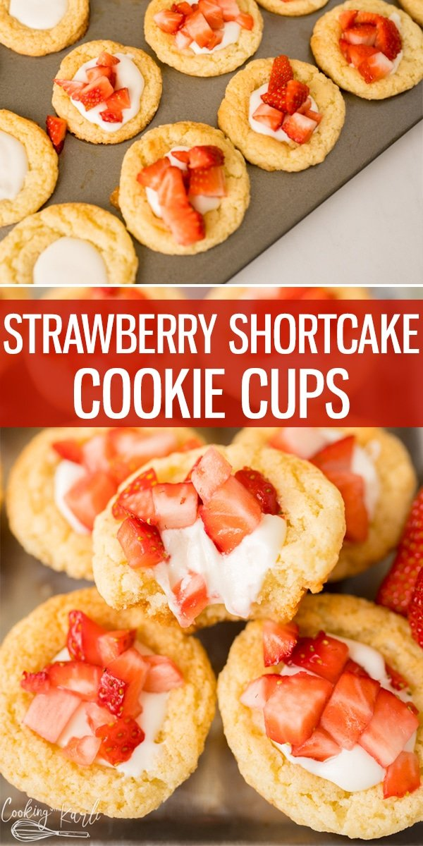 Strawberry Shortcake Cookie Cups are equally easy as they are delicious! Made with a boxed cake mix, a special creamy filling and fresh strawberries on top, this will be your new favorite cookie cup.. hands down! |Cooking with Karli| #strawberry #shortcake #strawberryshortcake #cookiecups #easy #boxedcakemix #cakemixcookies #recips