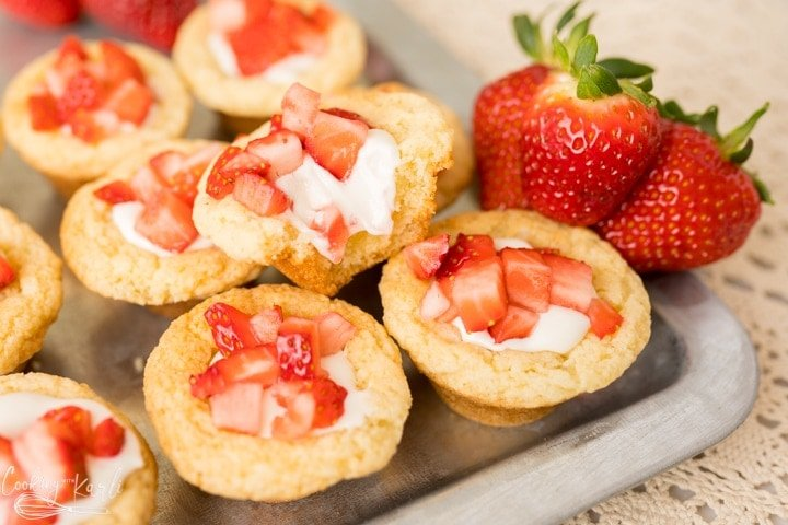 finished strawberry shortcake cookie cups