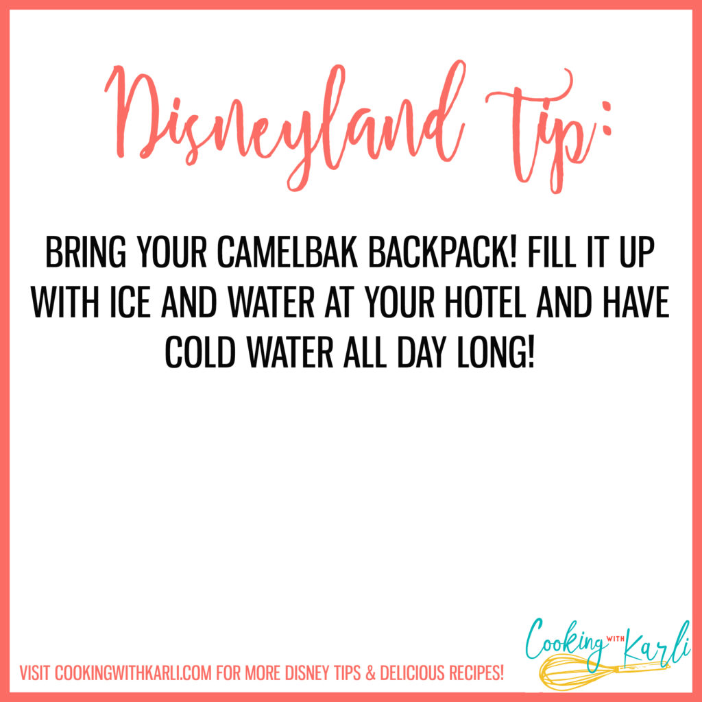 Disneyland tip about bringing camelbak to Disneyland