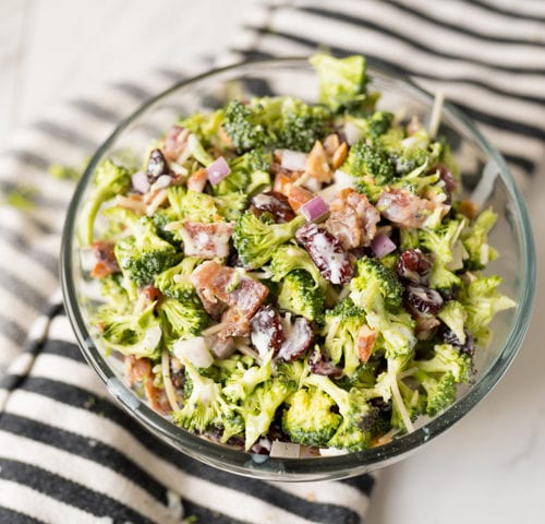 Broccoli Salad recipe, finished and served