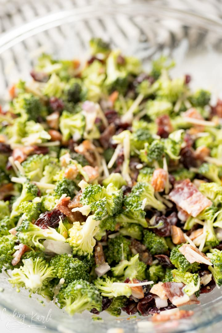 Broccoli Salad recipe with bacon and homemade Greek yogurt dressing, finished shot.