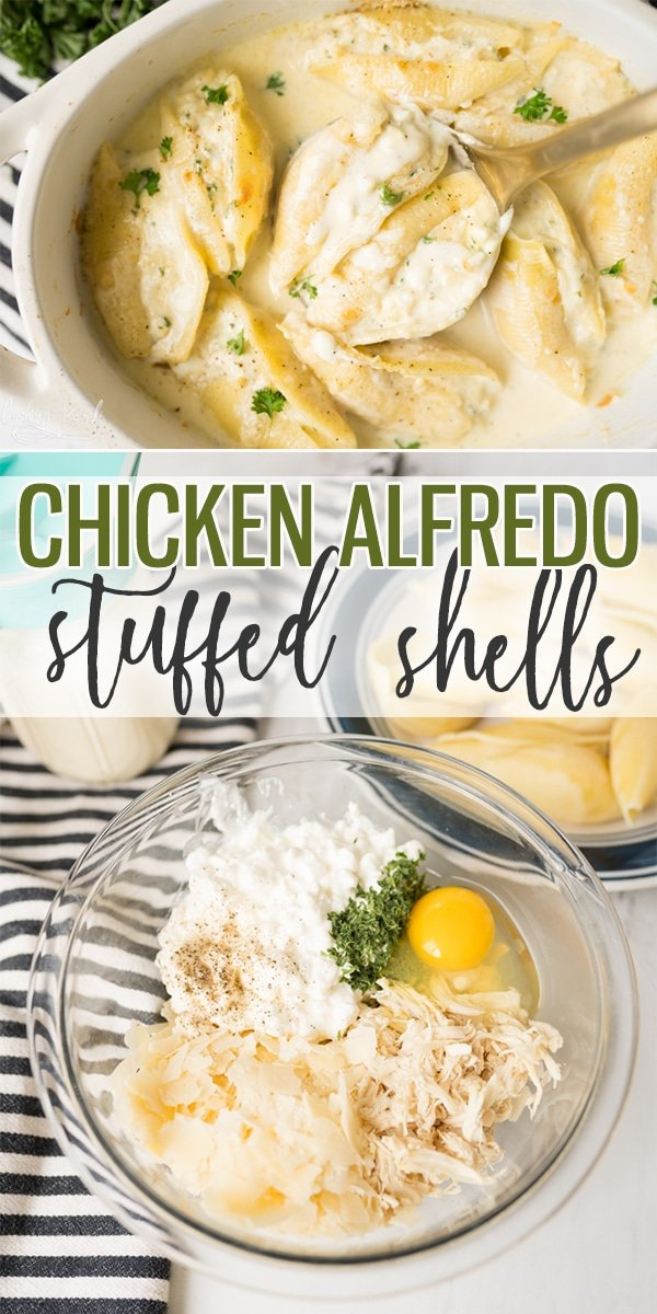 Chicken Alfredo Stuffed Shells are a savory pasta dish filled with the classic Chicken Alfredo flavors. Using either homemade or jarred Alfredo sauce, it pairs perfectly with the filling made up of shredded chicken, parmesan cheese and cottage cheese. |Cooking with Karli| #stuffedshells #instantpot #recipe #chickenalfredo #alfredo #fromscratch #cottagecheese #alfredosauce #
