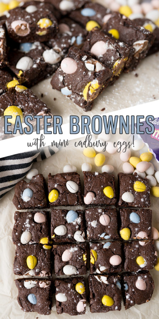 Easter Brownies are a homemade brownie topped with Cadbury Mini Eggs making this one of the easiest Easter Desserts you could make! Your family will LOVE these fudgey and festive brownies. |Cooking with Karli| #easter #brownies #easterdessert #dessert #brownies #cadburyeggs #minieggs #recipe