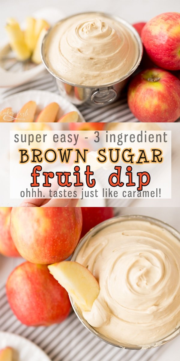 Easy Fruit Dip is a 3 ingredient dip perfect for Apples, Strawberries, Bananas.. Any fruit you can think of! Brown Sugar, Vanilla and cream cheese is all it takes! It tastes just like caramel, too!  |Cooking with Karli| #fruitdip #easy #recipe #dip #creamcheese #brownsugar #appledip