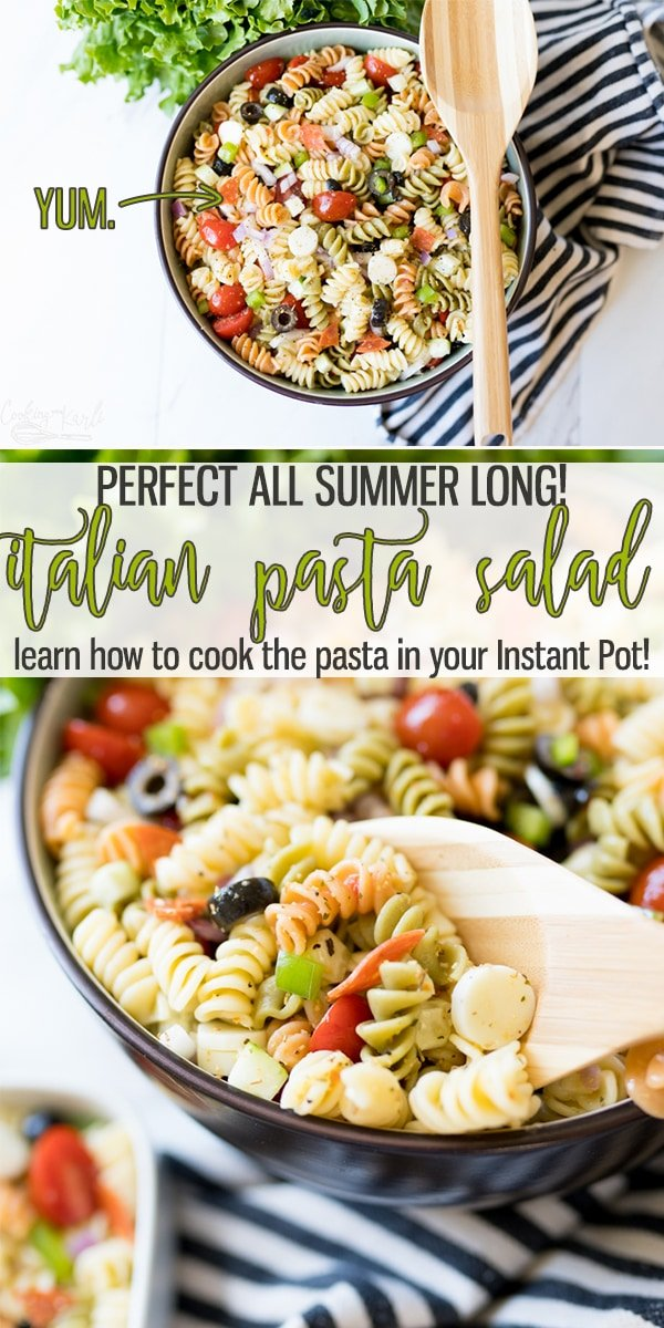 Easy Italian Pasta Salad is a classic pot-luck or BBQ side dish! Tri-Colored pasta, classic Italian Dressing and absolutely packed full of all the add-ins, this Pasta Salad is sure to be a hit!  Cooking with Karli  #pastasalad #italiandressing #sidedish #summer