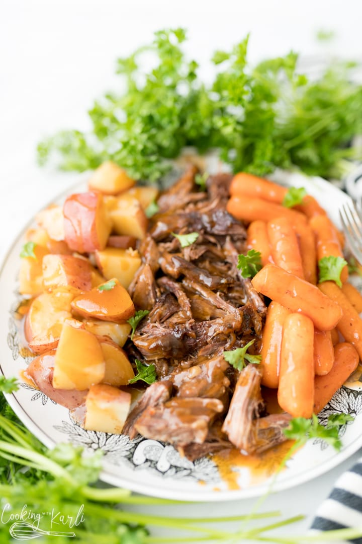 pot roast made in the Instant Pot with potatoes and carrots