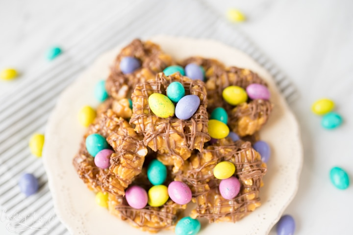 peanut butter birds nest cookies with cornflakes