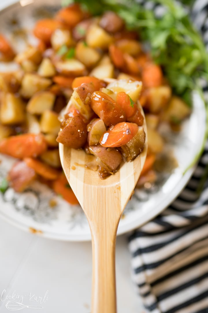 Instant Pot potatoes with carrots, finished and served.