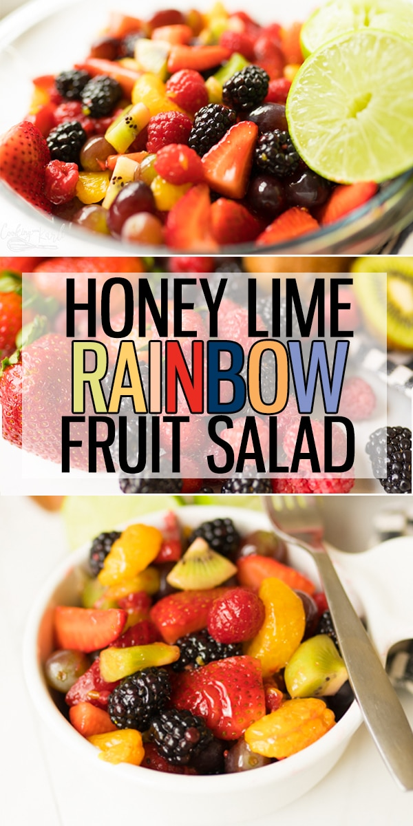 Fruit Salad Recipe with Honey Lime Dressing is the easiest Fruit Salad you will make. Your favorite fruit tossed with a simple 3 ingredient Honey Lime Dressing. |Cooking with Karli| #fruitsalad #honeylime #dressing #sidedish