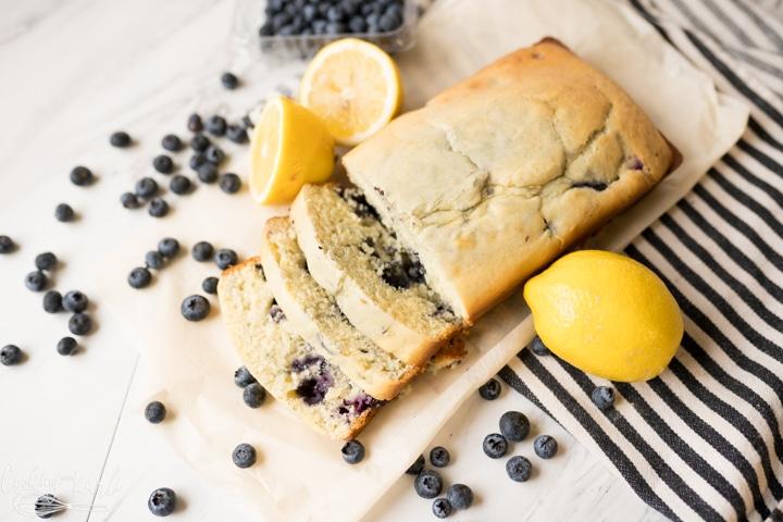 Lemon blueberry quick bread sliced