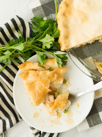 chicken pot pie, served and plated