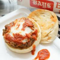 Meatball Sub Burgers on an English muffin