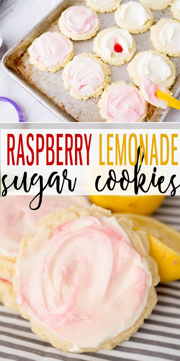Raspberry Lemonade Sugar Cookies are sweet and tangy Sugar cookie that scream all things Spring and Summer! The classic Sugar Cookie base is topped with a Lemonade icing that has a Raspberry Swirl. Impress the crowds with this beginner friendly cookie. |Cooking with Karli| #cookies #sugarcookies #summer #dessert #summercookie