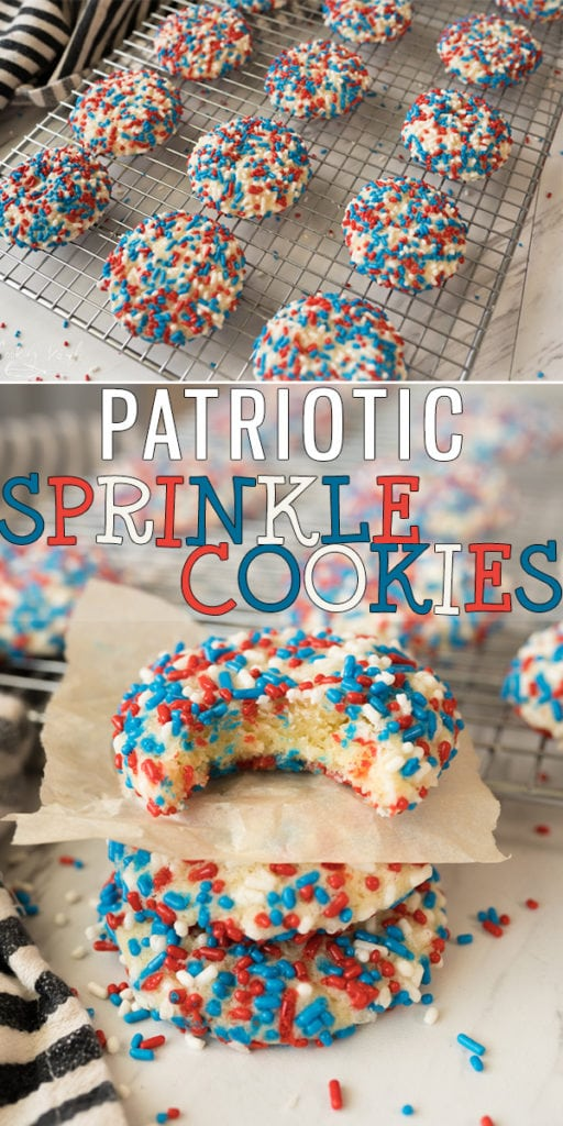 Patriotic Sprinkle Cookies are a fun and festive way to celebrate the 4th of July, Memorial Day, Veteran's Day and all of the other patriotic holidays! These cookies are crazy easy to make and kids always love them!  |Cooking with Karli| #fourthofjuly #patriotic #redwhiteandblue #dessert #cookies #sprinkles