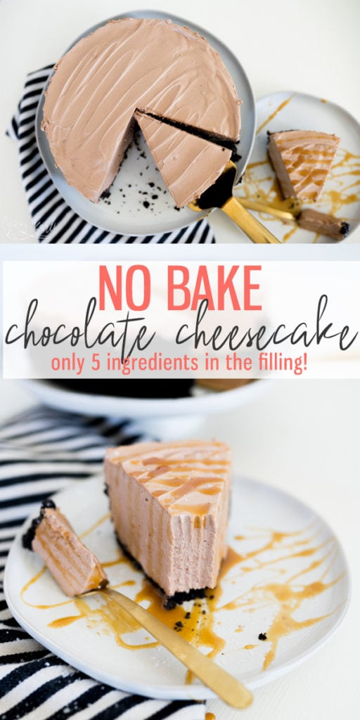 No bake chocolate cheesecake pinable image