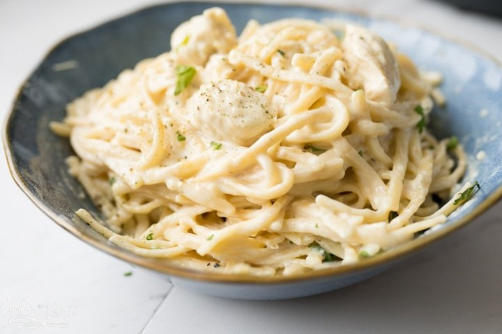 Chicken Alfredo made in the Instant Pot or pressure cooker