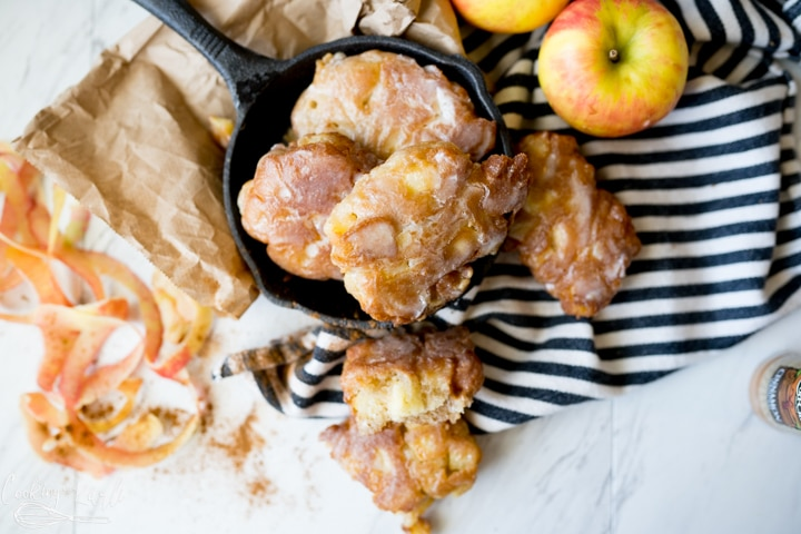 homemade apple fritters, finished