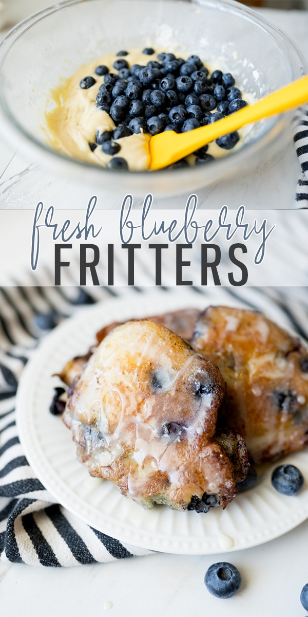 pin image for blueberry fritters