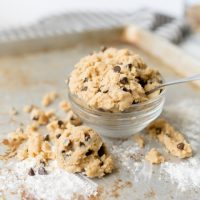 egg free peanut butter cookie dough with chocolate chips