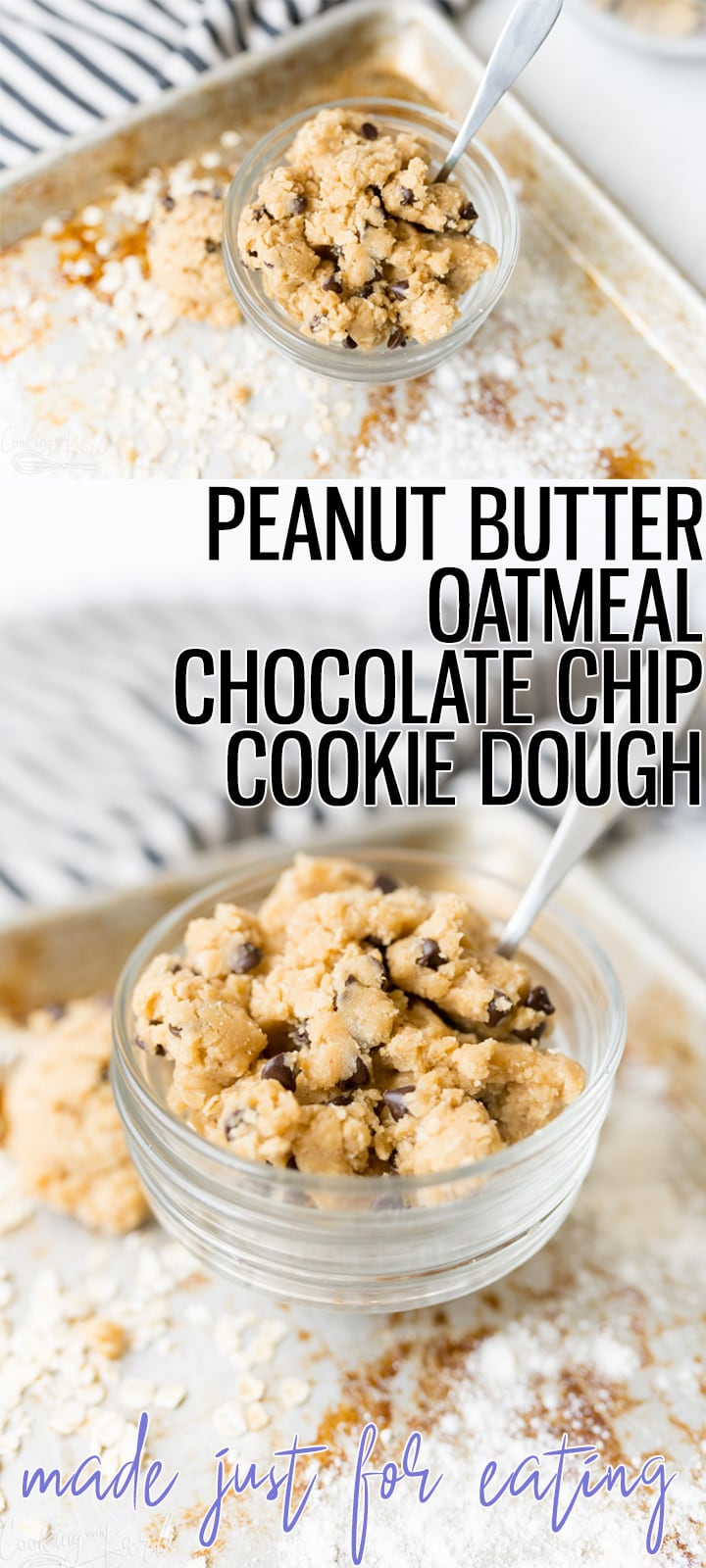 Pin image for Peanut Butter Oatmeal Chocolate Chip cookie dough