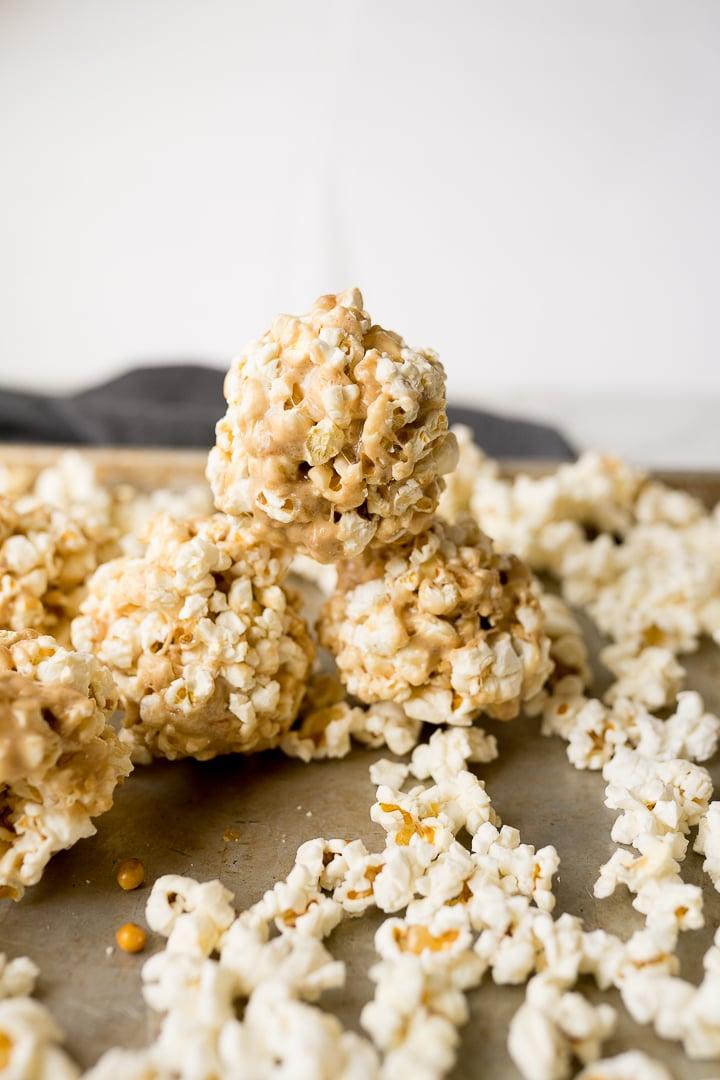 popcorn balls covered in caramel