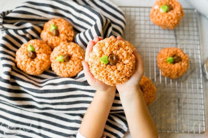 rice crispy treats in the shape of a pumpkin