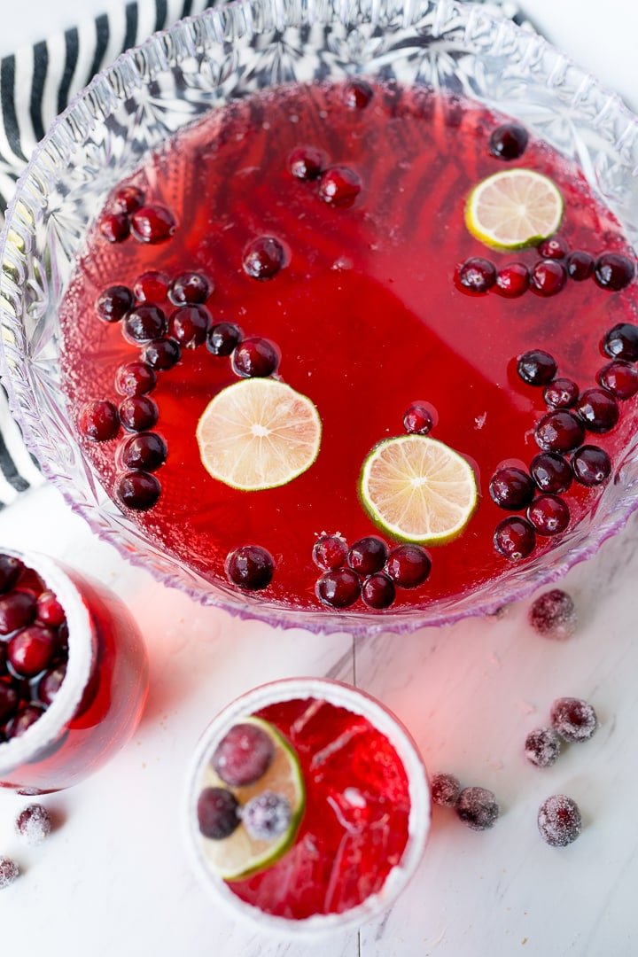 holiday punch recipe in punch bowl