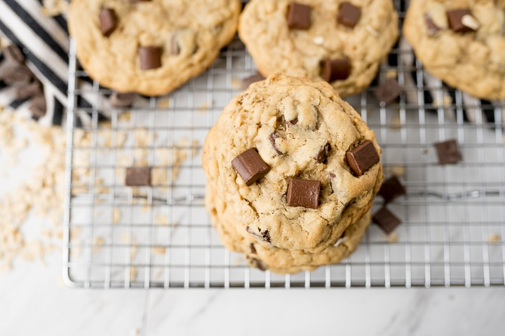 peanut butter oatmeal cookies with chocolate chips