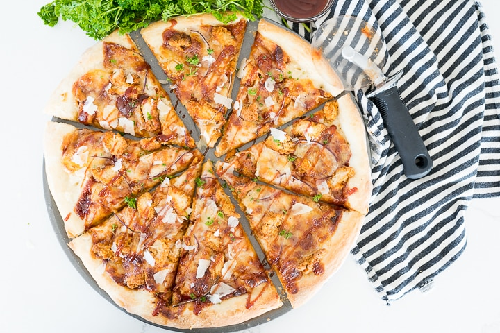 bbq chicken pizza recipe right out of the oven and cut