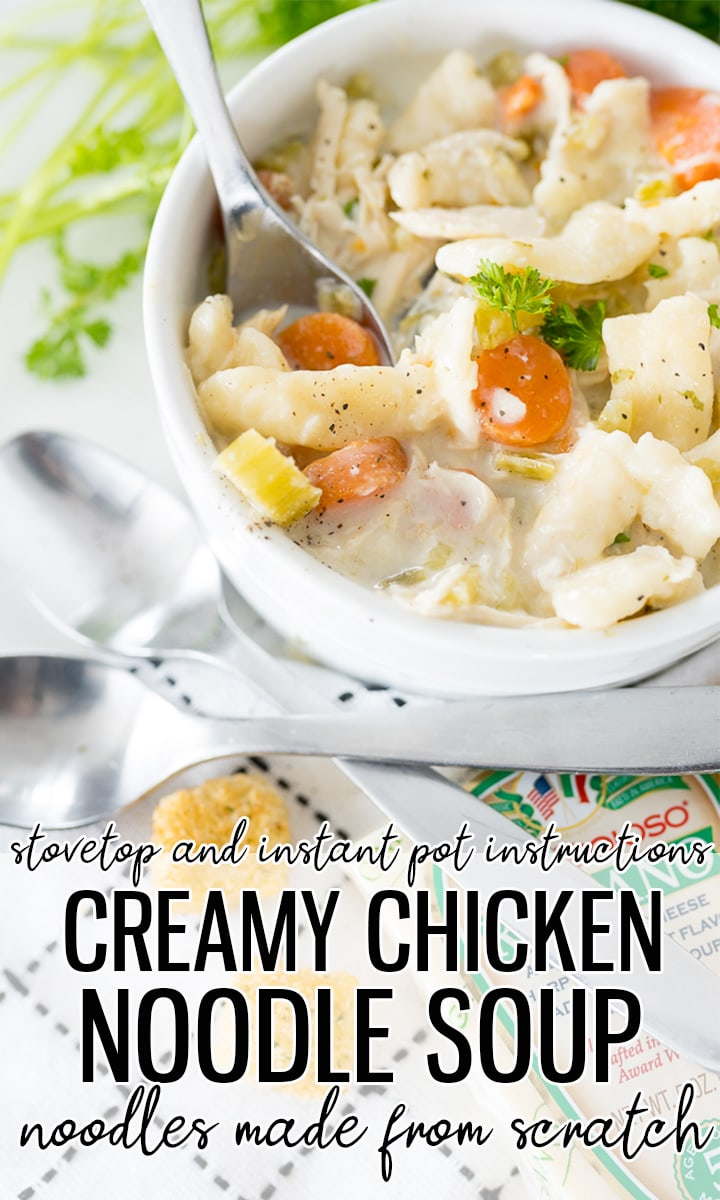 pin image for homemade creamy chicken noodle soup with homemade egg noodles