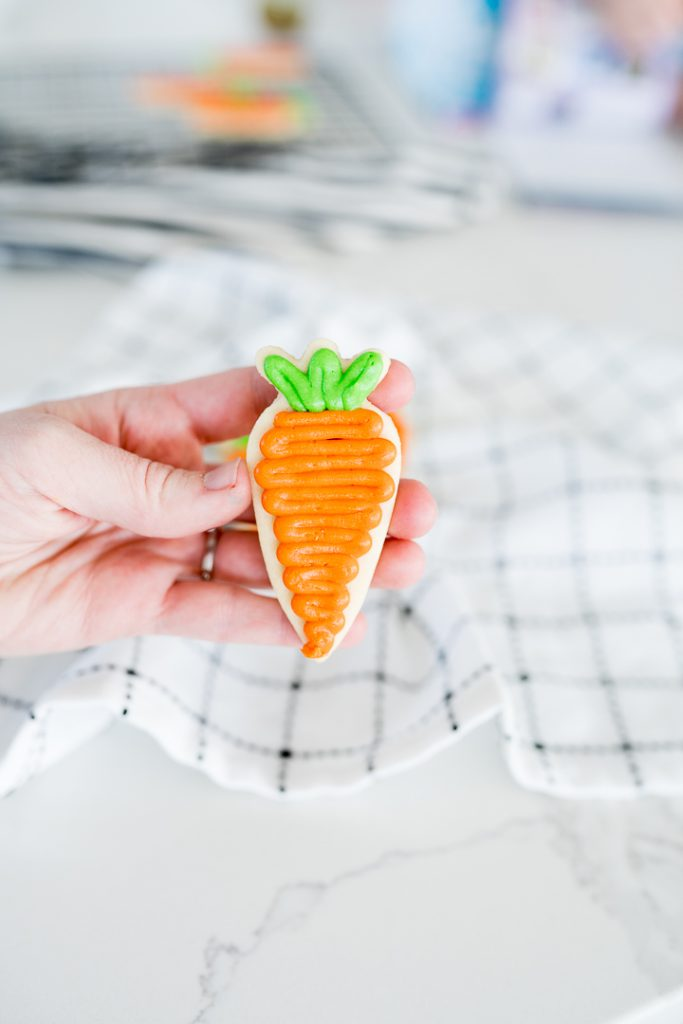 easter sugar cookies in the shape of carrots