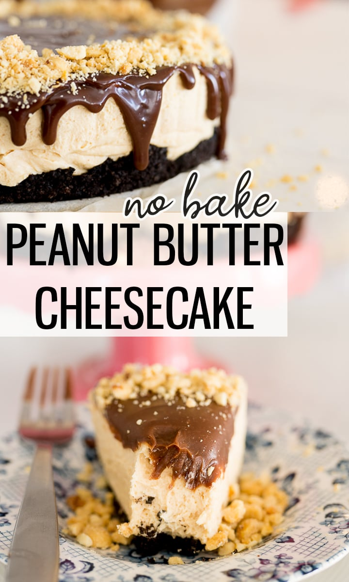 pin image for peanut butter cheesecake