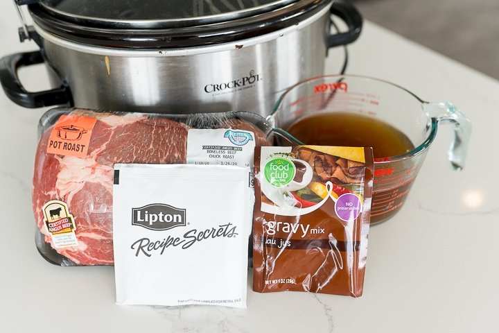 Ingredients needed for slow cooker French dip sandwiches