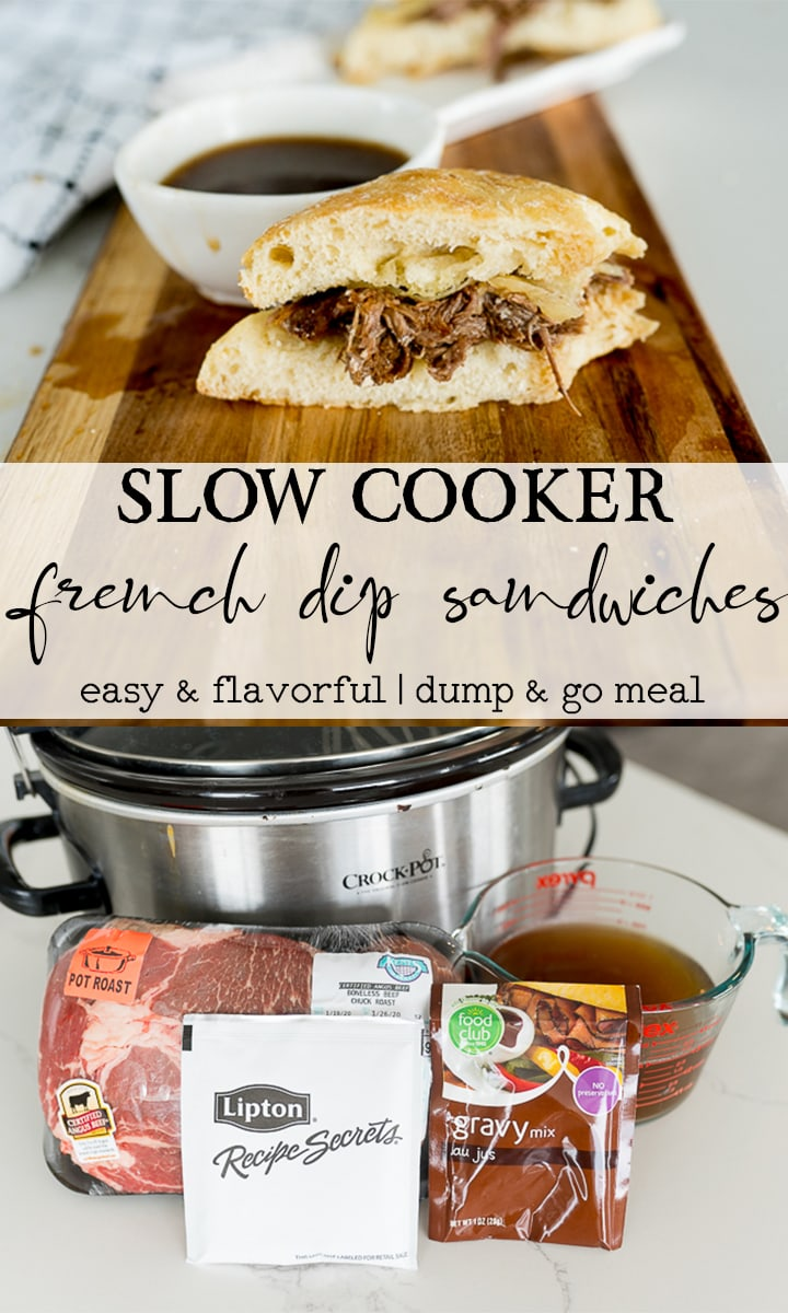 pin image for slow cooker French dip sandwiches